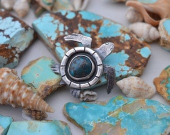 Sterling Silver Sea Turtle with Arizona Turquoise