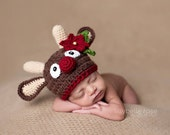 Christmas Hat, Reindeer Hat, Newborn Photo Prop, Crochet Baby Christmas Hat, Holidays, Christmas, Crochet Reindeer Hat