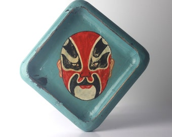 vintage lucha libre mask wooden tray dish mexican wrestler wrestling folk art home decor decoration mexican tray trinket tray