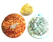 SALE  - Three Shell Pendants - Aqua Orange and Cream