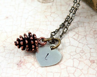 Copper Pinecone Necklace, Personalized Necklace, Initial Jewelry, Heart Necklace, Initial Heart, Fall Wedding