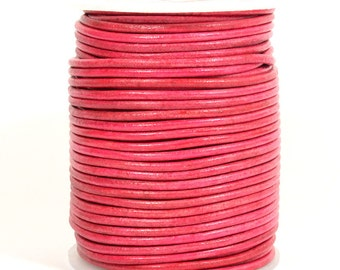 2mm Round Indian Leather - Natural Fuchsia - L2-DC6 - Choose Your Length