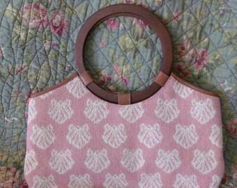 Vintage ZALO Needlepoint Purse RARE Labeled Pink Shell Carpet Tapestry Purse