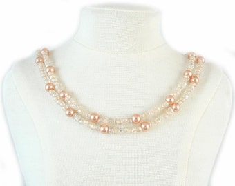 Peach pearl beaded, break away ID badge holder, necklace and more- gold or silver