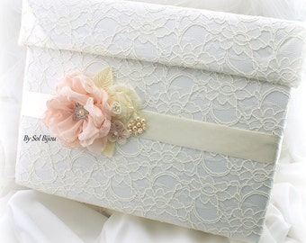 Wedding Money Box, Card Holder Box, Ivory, Blush, Cream, Invitation Box, Card Box, Lace, Pearls, Crystals, Vintage Style, Elegant