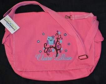 Multi Purpose Raw-Edge Messenger Bag Personalized!  PINK