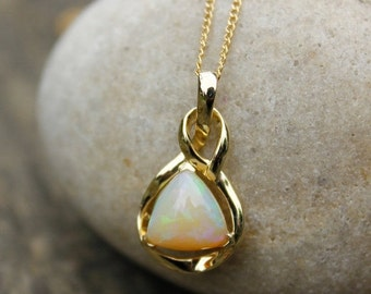 25% OFF Milky White Opal Necklace - Australian Opal Necklace - Pyramid Opal - 10K Gold Setting
