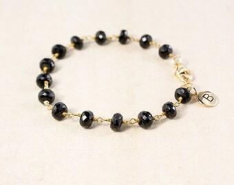 20% OFF Black Onyx Bracelet – Add Your Initial Charm