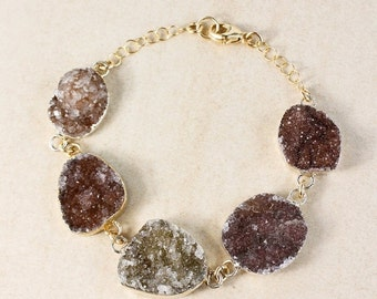 50% OFF Espresso Natural Agate Druzy Bracelet – 14k Gold Filled – Boho Bracelet