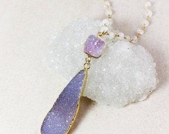 50 OFF SALE Teardrop Druzy Layering Necklace – Pink Druzy – Purple Lavender Druzy