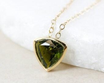 40 OFF SALE Emerald Green Tourmaline Necklace - Geometric Triangle - 10K Yellow Gold