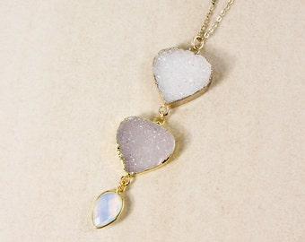 50% OFF SALE - Gold White Druzy Layering Necklace - White Opalite - Choose Your Druzy Pendant