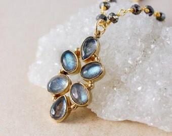 Blue Labradorite Petal Pendant Necklace – Black Pyrite Chain