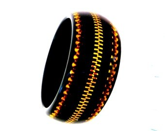 Bangle - Black - Resin - Gold Metal Zipper Inside - High Fashion - Retro - Acrylic - Designer Style -Recycled Eco Friendly - Posh - Mod -HIp