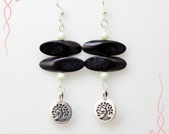 Wood slices and tree of life charm boho earrings