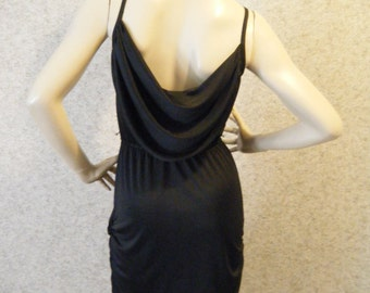 Vtg 1970s Silky Black Drapey Disco Dress with Ruched skirt Medium