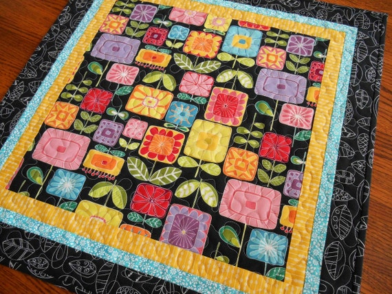 Quilted Square Table Topper with Bright Graphic Flowers, Square Table Mat, Turquoise Yellow Red and Black, Quilted Tablecloth