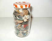 Smuckers Small Jelly Jar Filled with Vintage Buttons - Decorative Crafts Sewing display