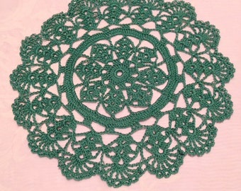 """9"""" medium green doily Hand crocheted dining housewares country cottage victorian decor dining table christmas holiday"""