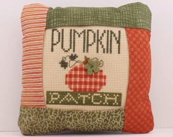 Pumpkin Patch Pillow, Cross Stitch Pillow, Thanksgiving, Halloween, Fall Home Decor