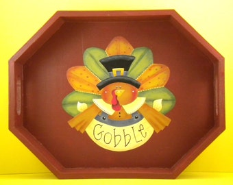 Thanksgiving Wood Tray, Hand Painted Wood Tray, Tole Decorative Painting, Hand Painted Thanksgiving, Wood Thanksgiving
