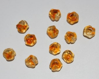 Vintage Nugget Glass Baroque West German Beads 12 Topaz Givre 10mm