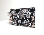Floral Black White Khaki Zippered Bag / Coin Purse / ID Case / Gadget Pouch with Split Ring - Ready to Ship
