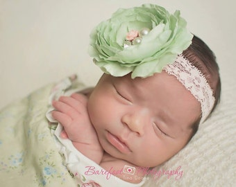 Mint Green and Pink Flower Headband, Silk Flower w/ Pearl & Crystal Center Pink Lace Headband or Clip, Baby Toddler Child Girls Headband