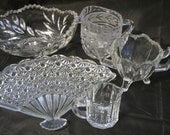 5 Pieces Vintage Glass, Etched Glass, Cut Glass Serving Pieces, Kitchen Serving Pieces, Dinning Serving Pieces, Glass Dishes, Serving Pieces