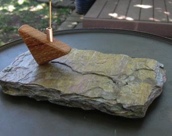 Incense Burner Slate, Wood and Copper Stick Incense Holder Slate Incense Burner OOAK