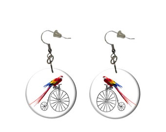 Scarlet Macaw Earrings Parrot Riding Antique Bicycle Button Dangle Earrings