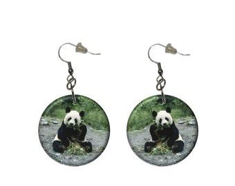 Sitting Panda Bear Earrings Panda Earrings Button Dangle Earrings