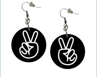 Peace Sign Earrings Black Background Peace Earrings
