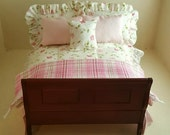 Reserved for Nonna 1:12th Scale Sleigh Bed with Pink Bedding