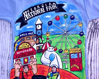 Awesome Carnival Fair YOU design hand painted shirt size 12 18 24 2 3 4 5 6 7 8 9 10 Boutique custom