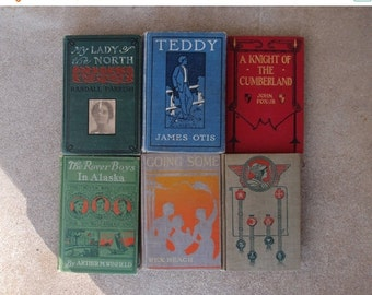 SALE SALE SALE Vintage Hardcover Book Instant Collection Set Six Turn of the Century Early 1900s Art Deco Home Decor Fiction Novels Antique
