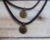 Bronze Om Charm Black Choker Adjustable Cotton Cord Necklace spiritual jewelry buddha hindu antiqued brass