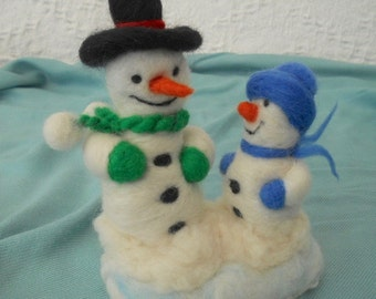 Christmas Snowman, Snowman scene,  Snowman and son, Xmas decor, Christmas decoration, hand felted snowman, winter snowman, table decoration