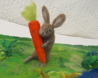 Needle Felted Rabbit Waldorf Hand Felted Rabbit with Giant Carrot Play Mat Play Scape Nature Table Rabbit and Carrot Bunny Rabbit