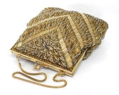 Vintage Gold Beaded Hand bag La Regale Gold Frame 20s Great Gatsby Flapper Art Deco Wedding Purse