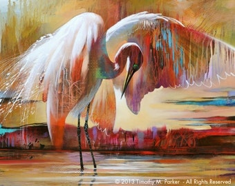 Abstract Bird Art • Contemporary Egret Painting Reproduction • LAST LIGHT • Tropical Bird • Florida Bird Painting