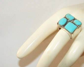 Free Shipping Southwestern Native American Genuine Turquoise Sterling Silver Big & Bold Vintage Ring