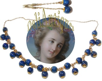 Free Shipping Stunning Art Deco Natural Blue Lapis Lazuli Vintage 1920s Necklace Earrings Set