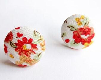 Clip On Earrings / Stud Earrings / Button Earrings - white floral earrings