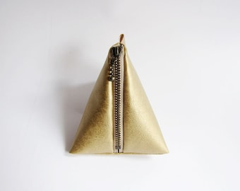 Triangle Pouch in Gold - Faux Leather Zipper Coin Purse - Simple and Classic Zipper Pouch in Faux Sheepskin