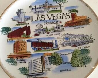 Sale Fabulous Vintage Las Vegas Souveneir Plate -- Viva Las Vegas