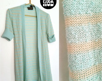 Vintage Simple and Chic Mint Green and White Stripe Short Sleeve Cardigan!