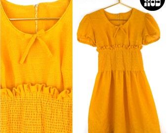 Cute Lolita Juniors Vintage 60s Mod Babydoll Dress in Goldenrod Yellow!