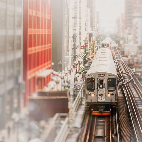 CTA Train, Chicago Photography, Loop Tracks, Pop of Red, Wall Art - Urban Landscape, crimson, charcoal gray, white, beige, CNA Building,