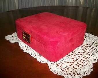 Red Suede-like  Jewelry storage  box w Mirror  on Sale